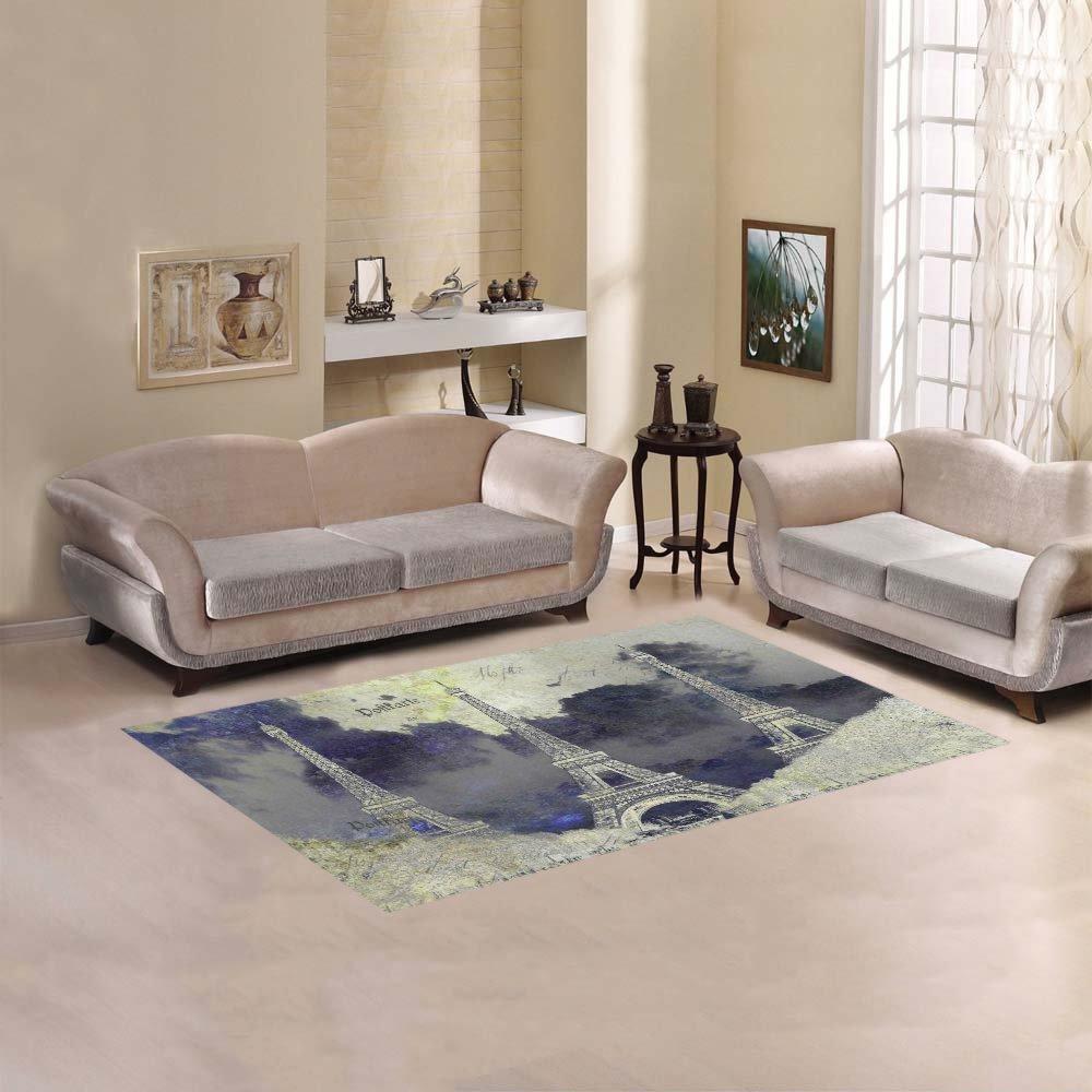 "InterestPrint Vintage Paris Romantic Eiffel Tower Area Rug 5'(L) x 3'3""(W) - Abstract Digital Art Modern Carpet Rugs Sets for Home Living Room Bedroom Decor"