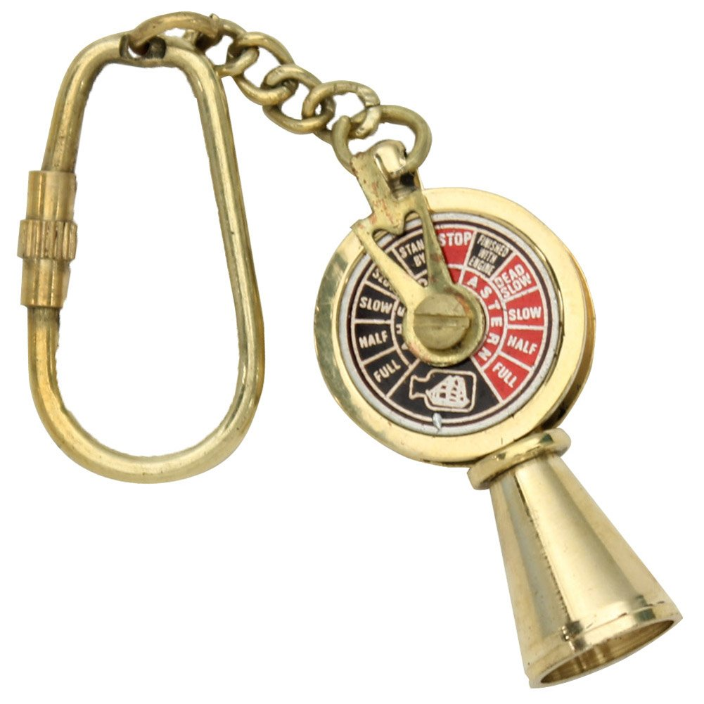 "Handcrafted Nautical Decor Solid Brass Titanic Engine Telegraph Keyring, 5"", Brass"