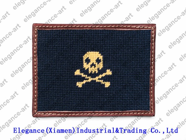Needlepoint Genuine Leather Card Wallet