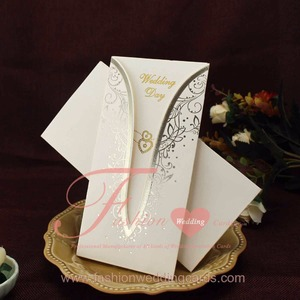 Simple Gold Hot Stamp Cheap Pocket Wedding Invitation Cards