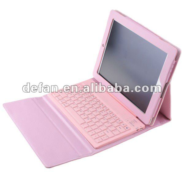 Hot sale!pink leather case bluetooth keyboard for ipad 2 ipad 3