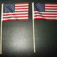 "USA Auto Car Flag On Plastic Stick 12"" x 18"" small american flags"
