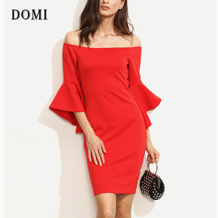 Ladies Cocktail Off Shoulder Bardot Ruffle Sleeve Split Pencil Red Party Dresses
