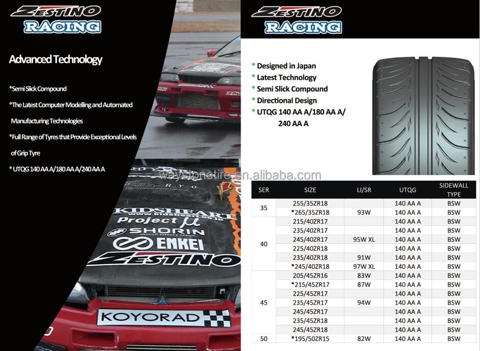 Zestino 123s Drifting Tires/tyres 265/35r18 245/40r18 215/45r17 ...