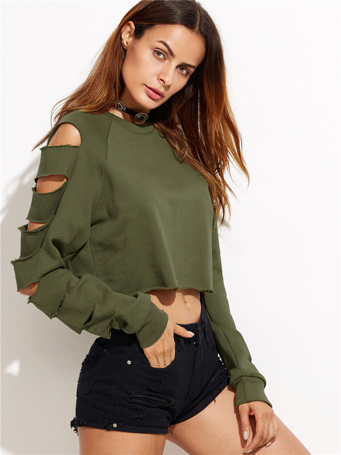 Fashion ladies long sleeve crop hoodie women's sweat shirts