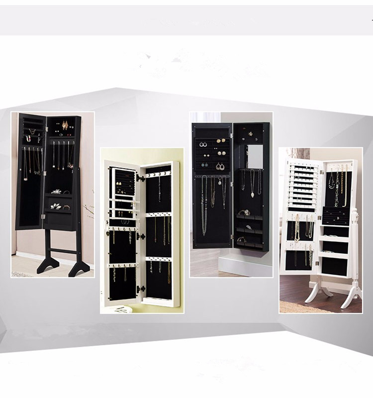 E1 MDF High Quality Swivel Floor Standing Mirror Jewelry Cabinet With  Competitive Price