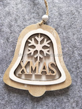 Wooden xmas decor ornaments bell hanger laser cut painted wording let it snow