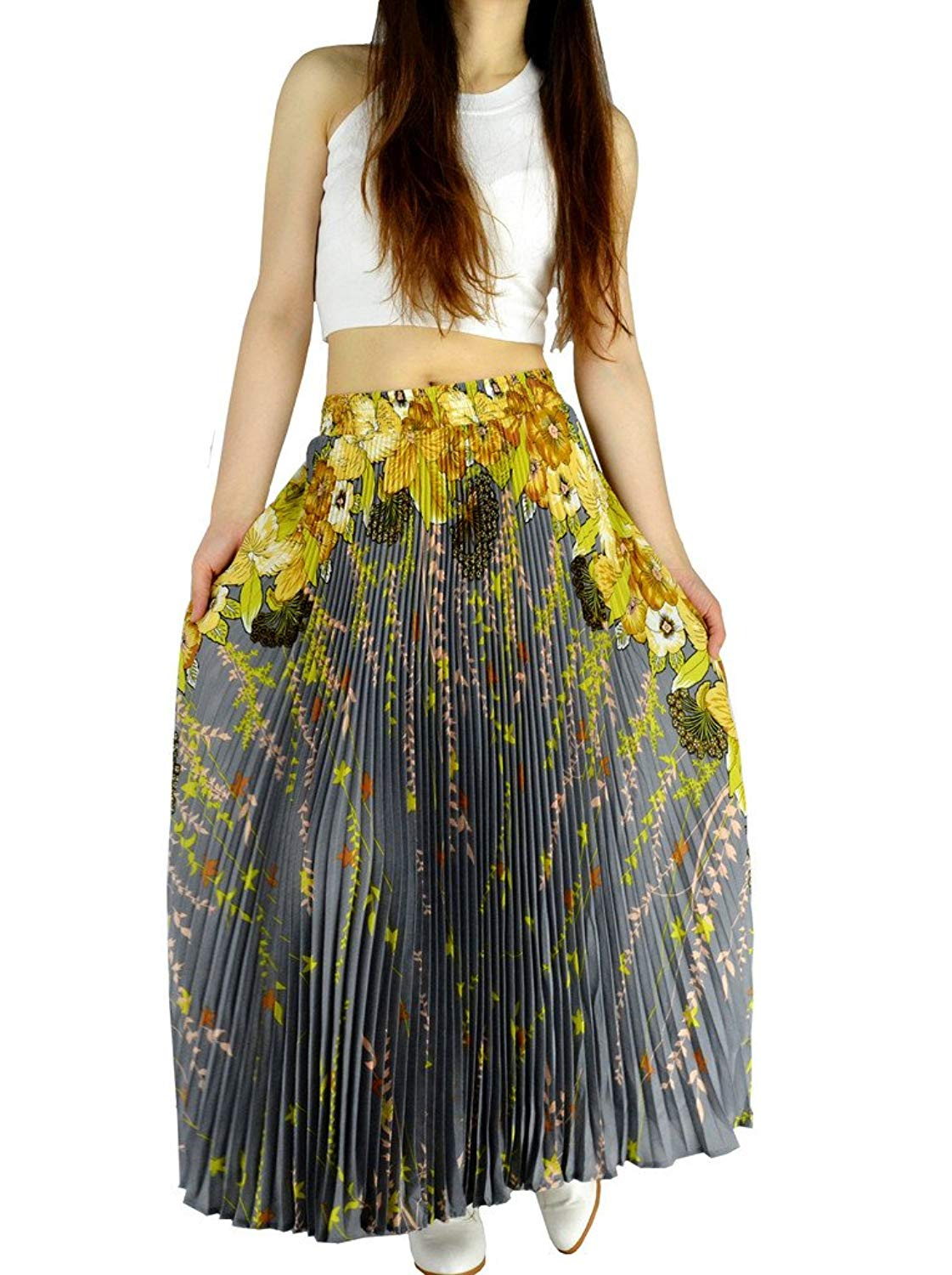 57c955aee97baf Get Quotations · YSJERA Womens Pleated Long Maxi Skirt - 35.4