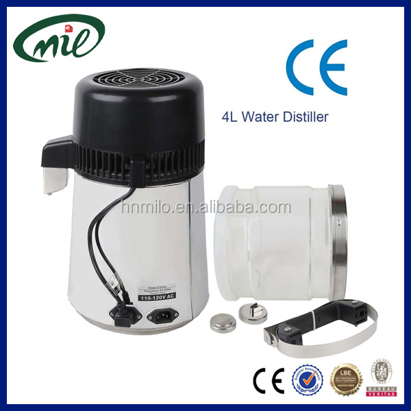 Glass & Stainless steel container/4L portable water distiller,laboratory water distiller/glass water distiller