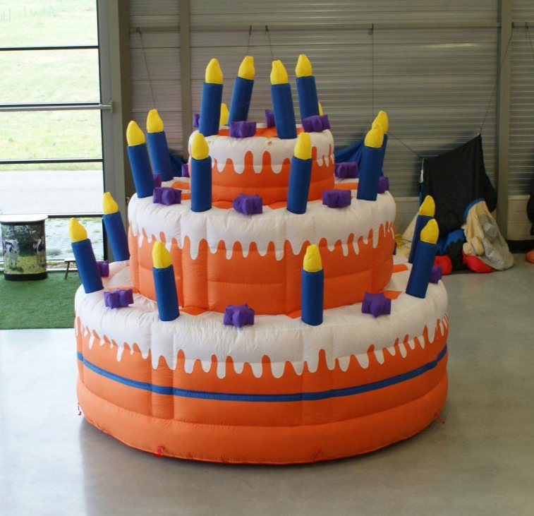 Giant Inflatable Three Layer Birthday Cake Model With Candle For