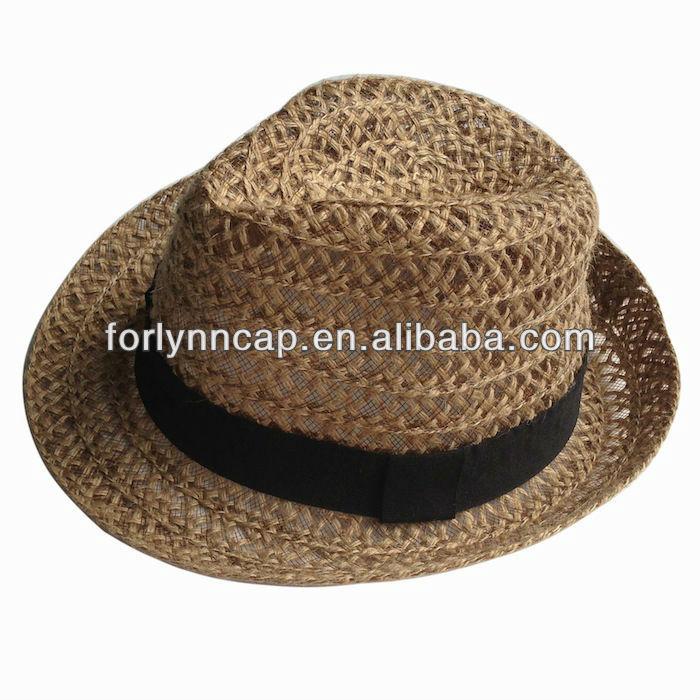 f441b826b6d Hot Selling Custom Straw Mesh Fedora Trilby Hat men Hat - Buy Cheap ...