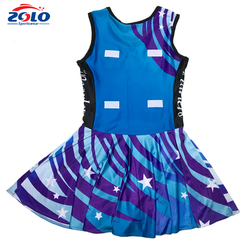 Fully dye sublimated customized women's netball skirts