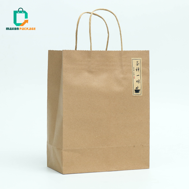 NBCU Audit wholesale promotional custom logo take away brown kraft paper shopping gift bag with handle