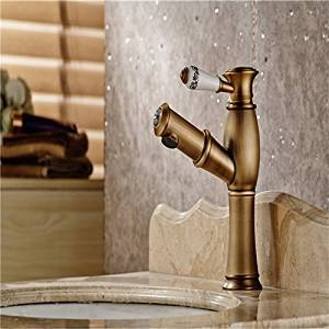 Furesnts Modern home kitchen and bathroom faucet The antique bathroom sink taps copper cold and hot Mixed taps 1 handle taps bathtub ullout taps bathroom taps,(Standard G 1/2 universal hose ports)