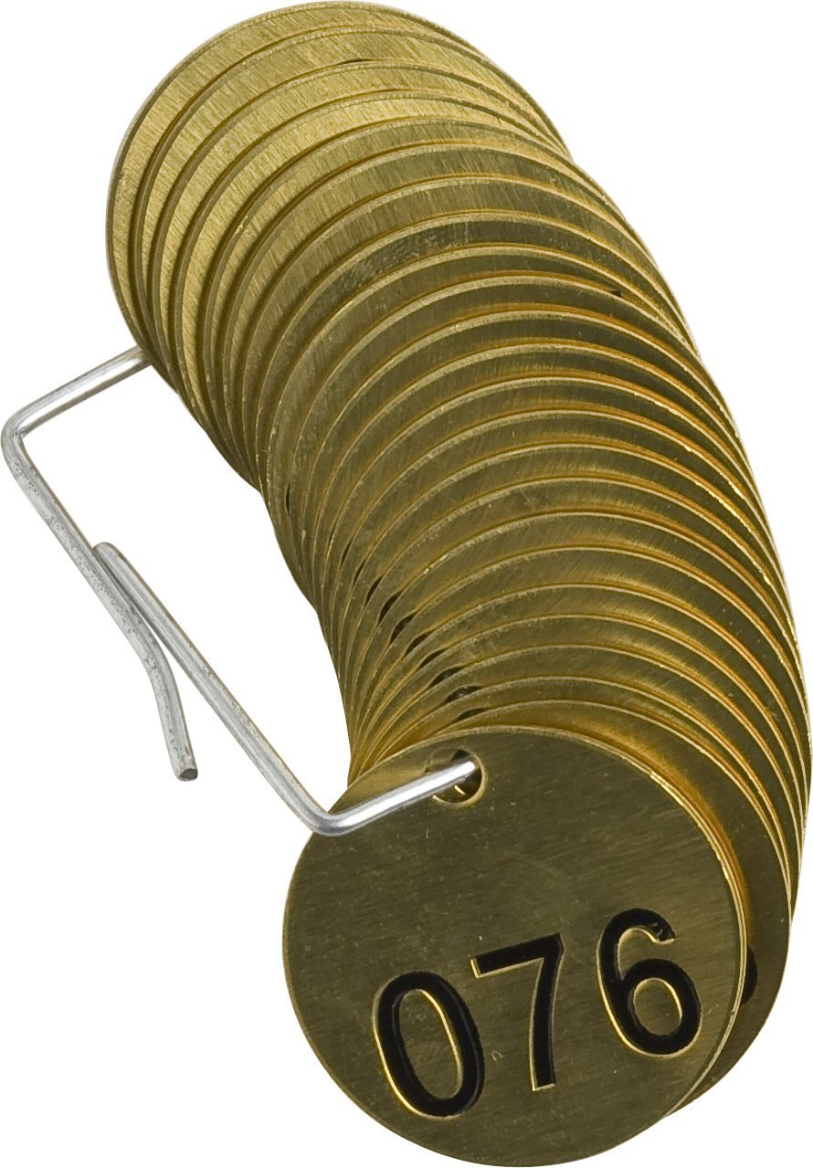 25 per Package Legend Blank Brady 236171 1//2 Diameter Stamped Brass Valve Tags Numbers 251-275