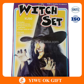 halloween novelty toys witch toys set witch hat witch chain and nose nails