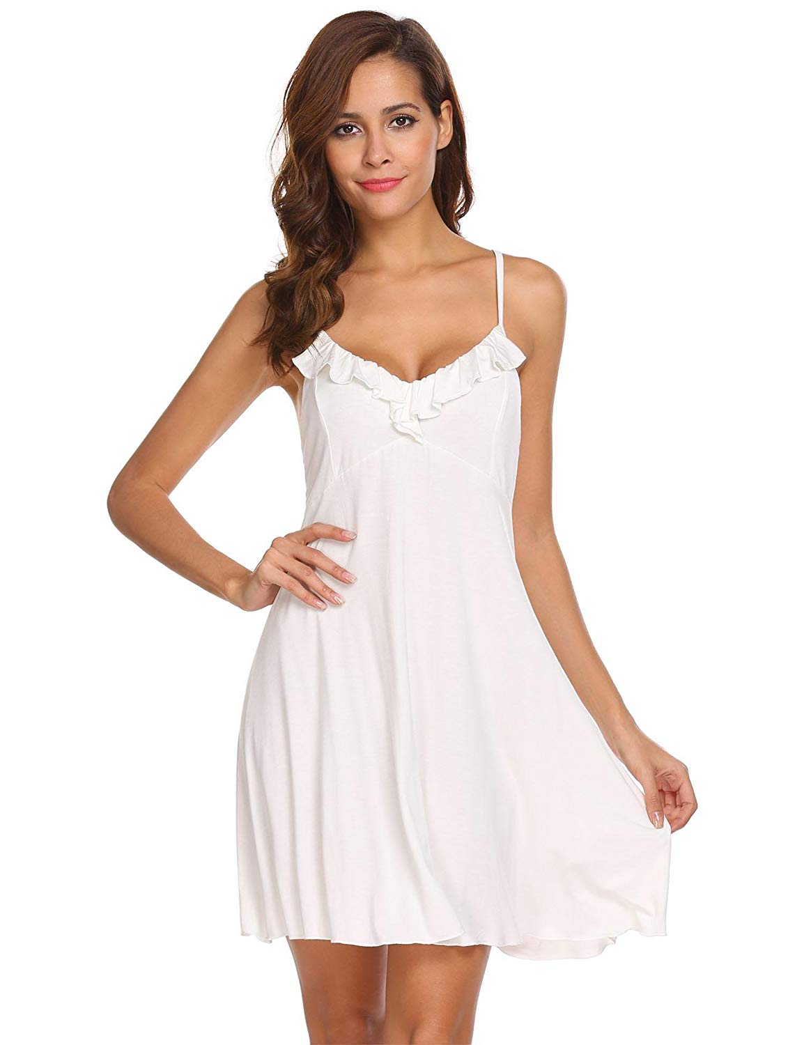 15c530a41ae Get Quotations · Langle Soft Nightgown Women s Comfy Nightwear Chemise Full  Slip Under Dress ...