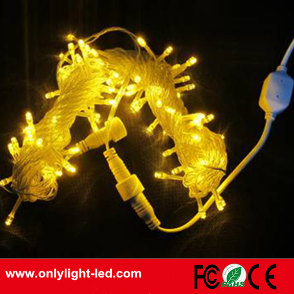 made in china 10M 100led yellow led light string AC220V for christmas lights outdoor