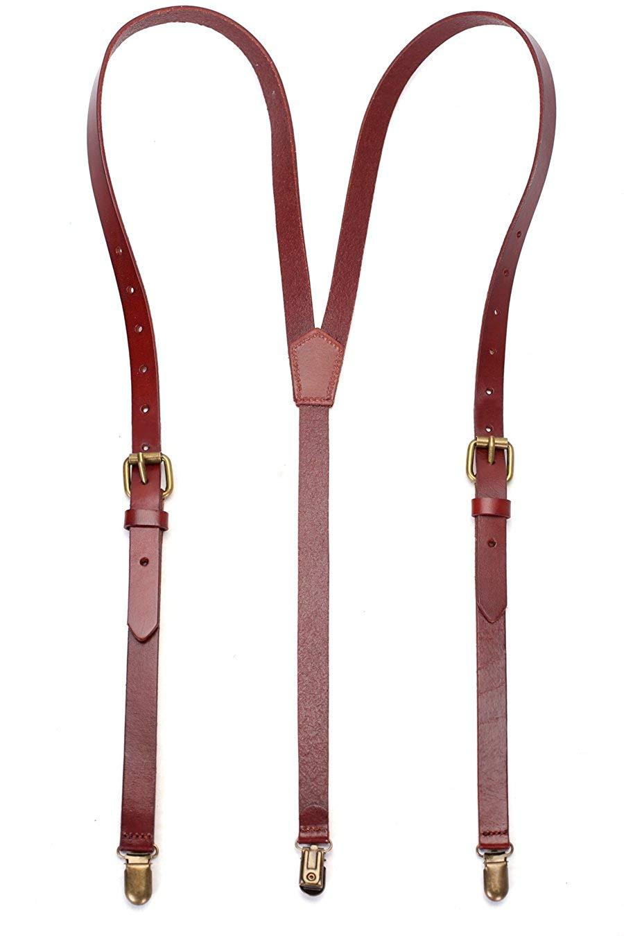 ROCKCOW Genuine Leather Suspenders / Groomsman Wedding Suspenders