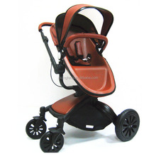 2017 Good Quality Leather Baby Stroller 3 In 1 Pram