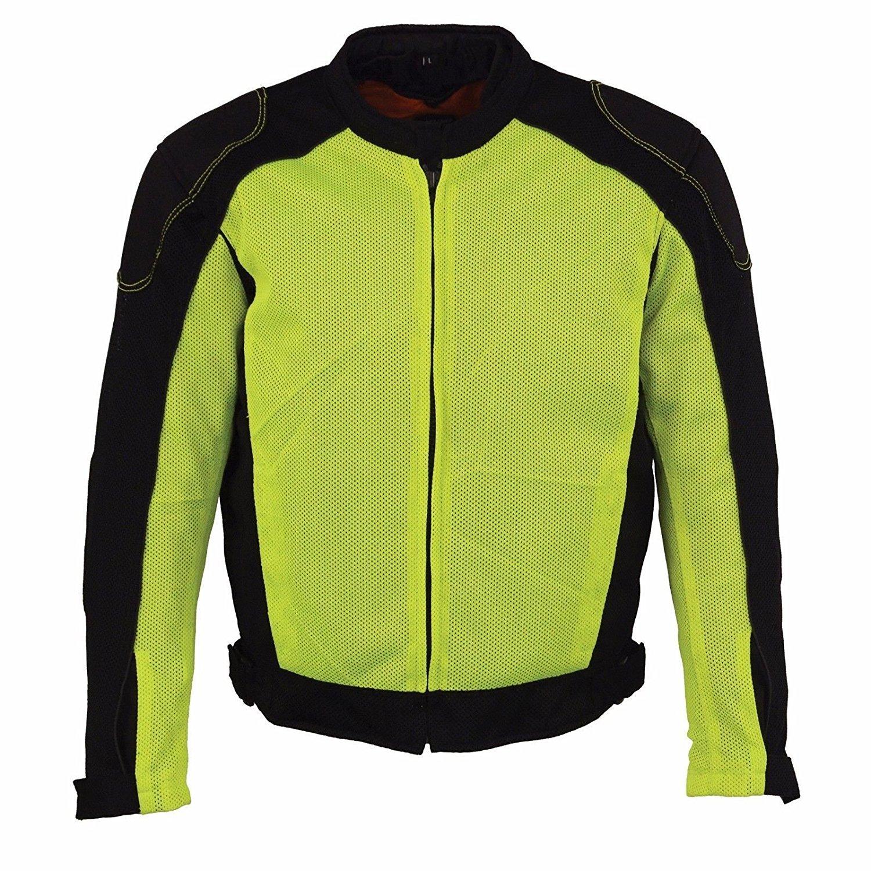 Milwaukee Mens Motorcycle Biker Racer Jacket with Armors Mesh High Visibility Reflective (4XL Regular)