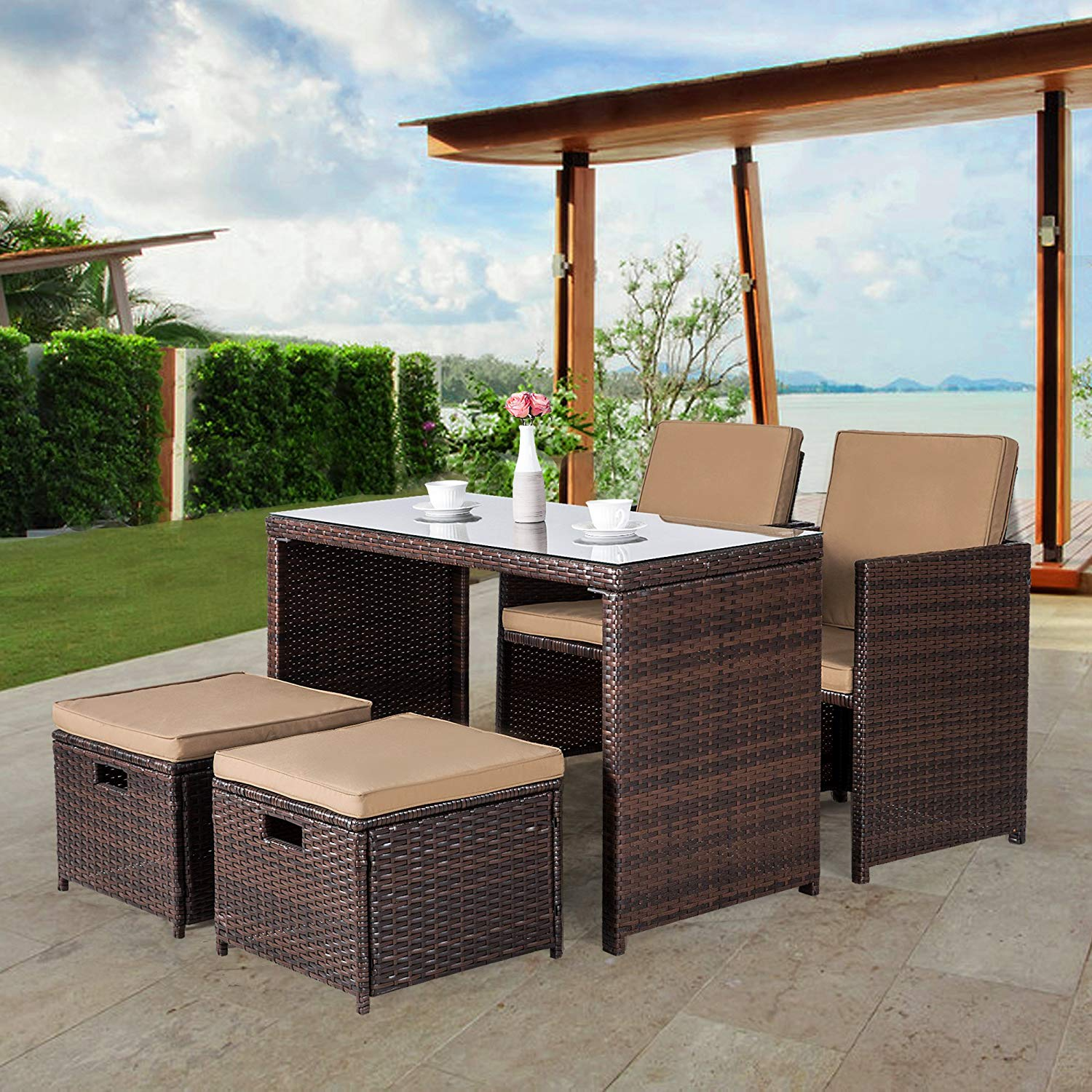 Cloud Mountain Outdoor 5 Piece Rattan Wicker Furniture Bar Set Cushioned Patio Furniture Set Space Saving Dining Table Dining Sets 1 Dining Table 2 Dining Chair 2 Ottoman, Brown
