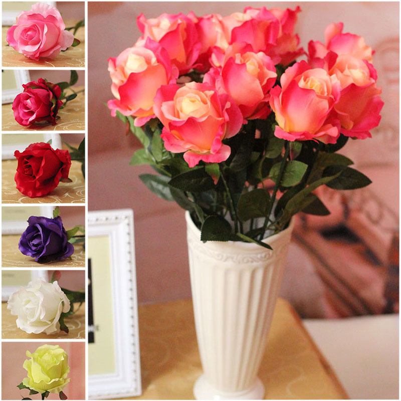 17pcs rose wholesale silk artificial flowers wedding party home garden decoration sweetheart. Black Bedroom Furniture Sets. Home Design Ideas