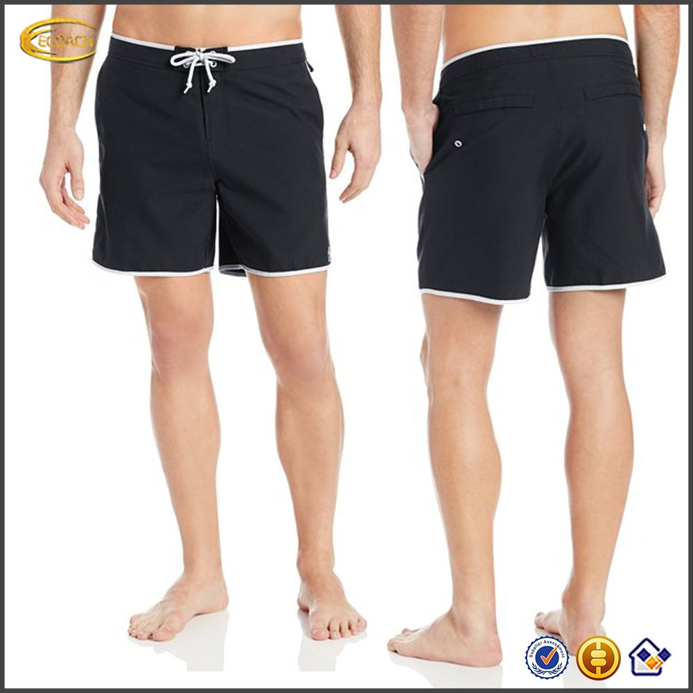 Ecoach Men's contrast trims and mesh-lined drawstring Side-seam Fixed Volley boxer basketball shorts Swim Trunk