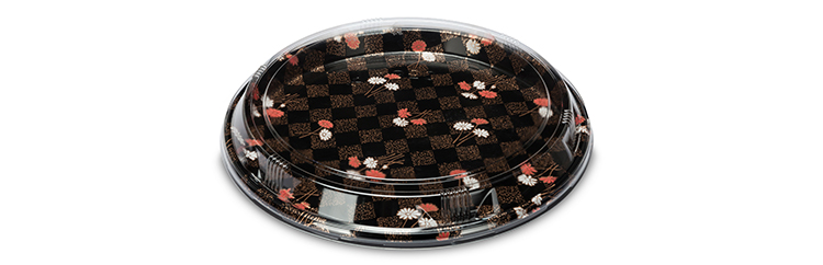 Japanese sakura printing round plastic disposable plates with dome lid