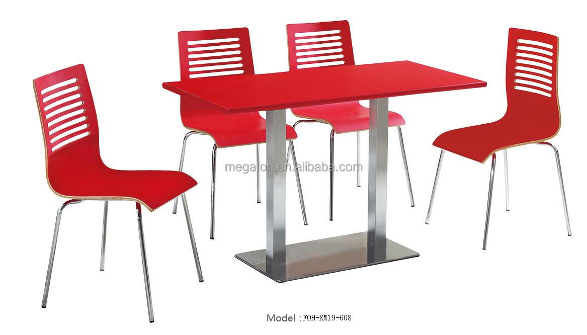 Modern Canteen Red Table/Chairs Set Restaurant Furniture (FOH XM19 608)