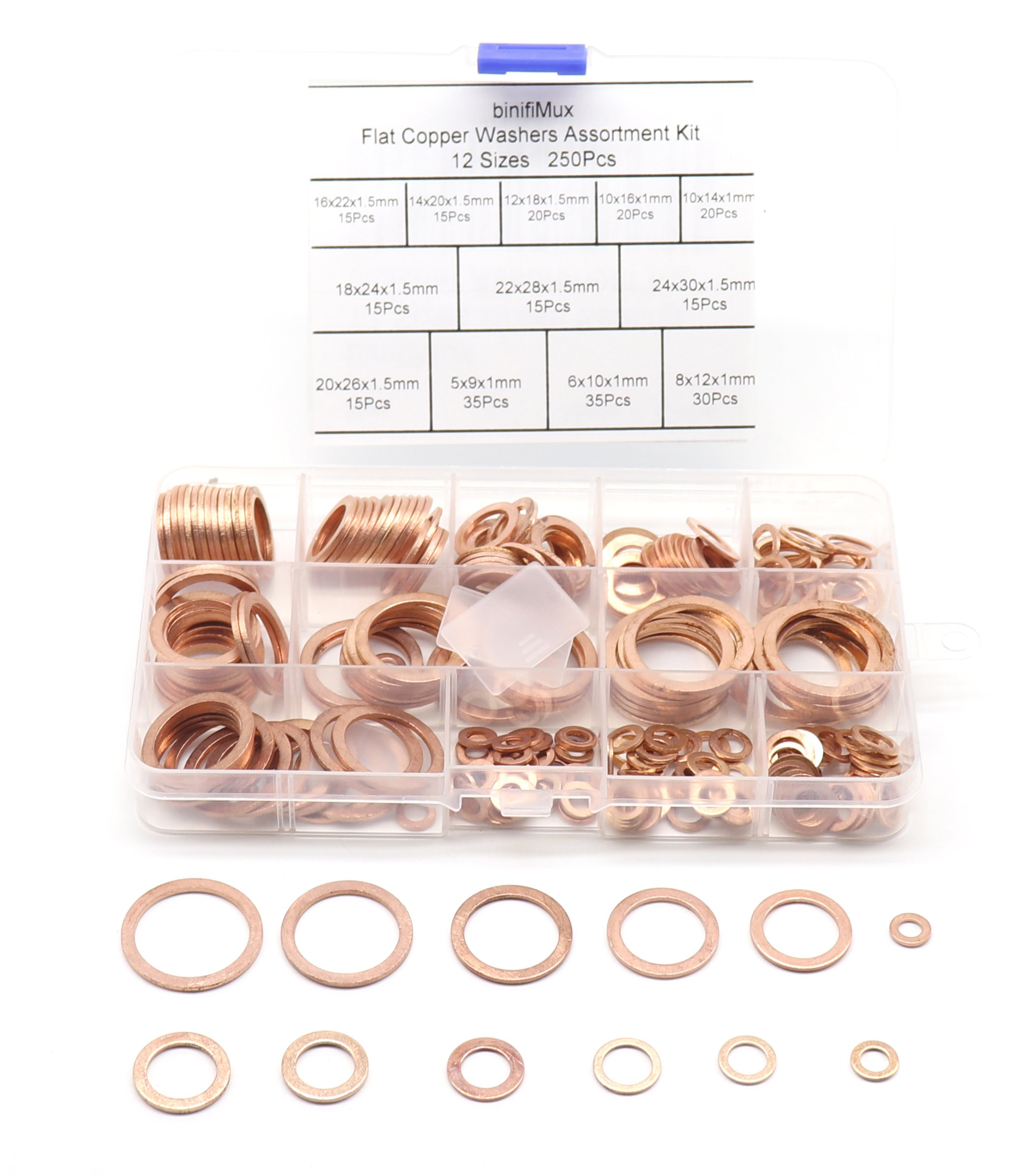 binifiMux 250Pcs 12 Sizes M5 - M24 Metric Flat Copper Washer Assortment Set, Metric Ring Washer