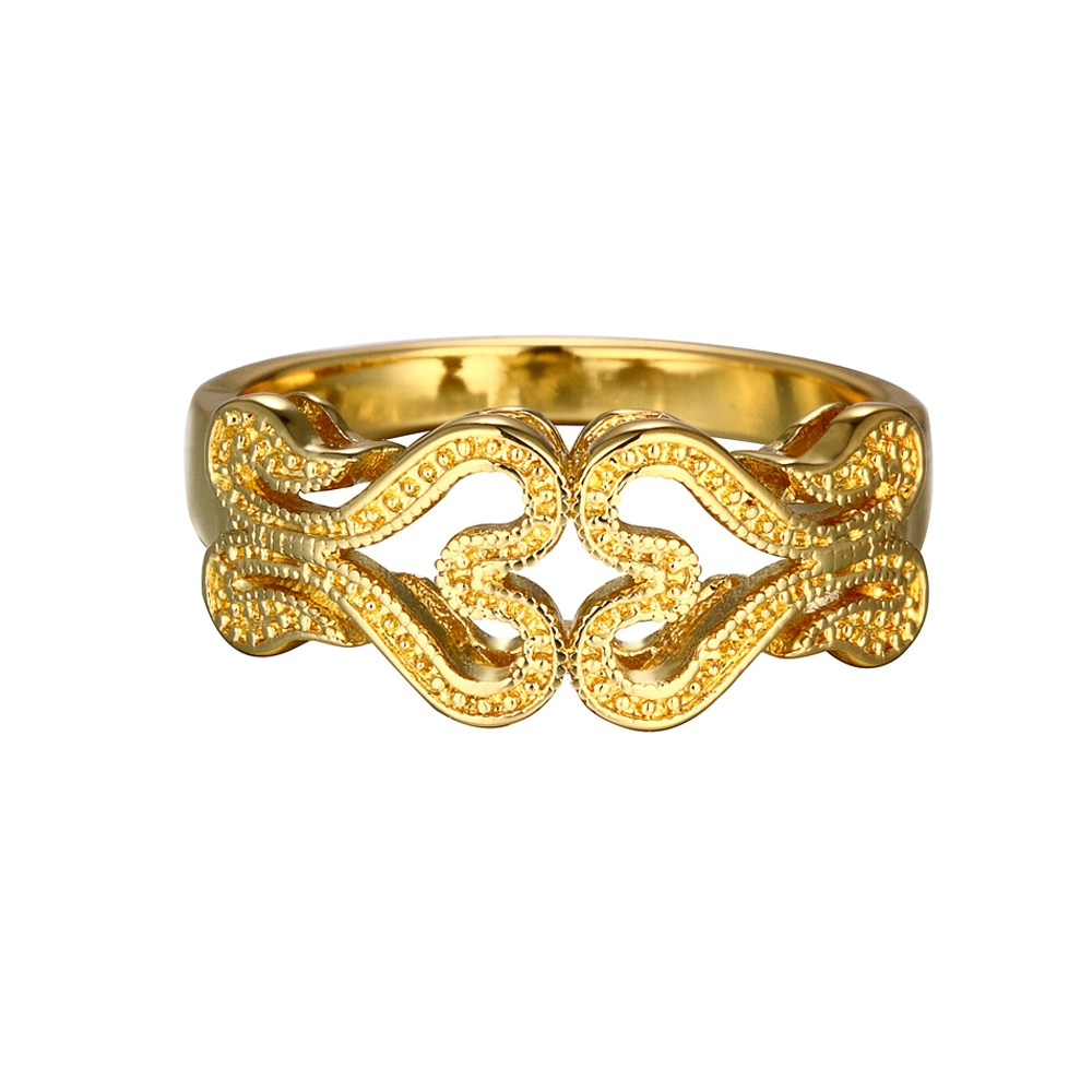 double heart shape latest design gold ring best price ring - buy