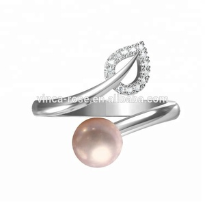 Fashion designs leaf shape white cz original pearl mountings ring 925 silver adjustable moti ring tanishq pearl jewellery