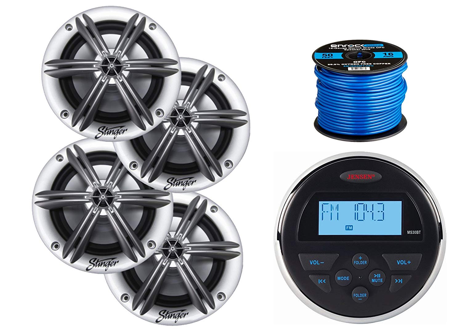 "Jensen MS-30BTR Mechless Compact Waterproof Stereo w/Bluetooth, 4 x Stinger PowerSports 6.5"" Marine Coaxial Speakers Without RGB Lighting (Silver), Enrock Marine-Grade 50 Foot 16-Gauge Speaker Wire"
