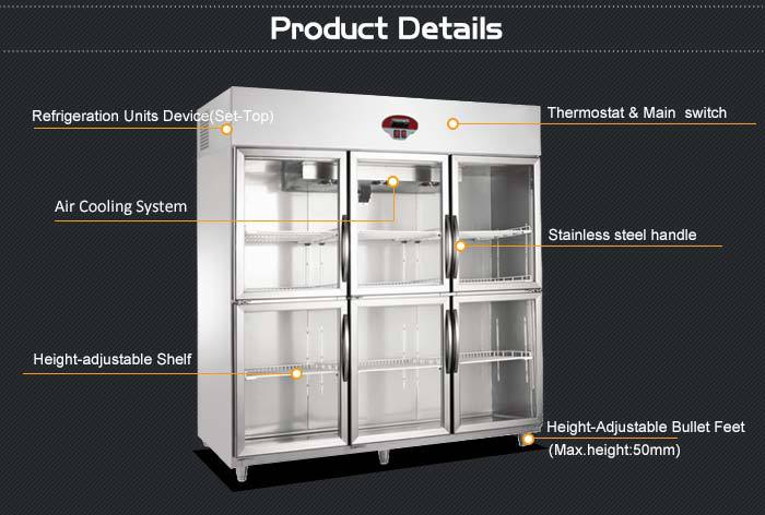 1550l Triple Door Refrigerator Showcase Upright Showcase