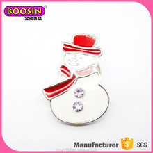 Factory Promotional Christmas Gift Snowman Rhinestone Brooch Pin cheap christmas pins