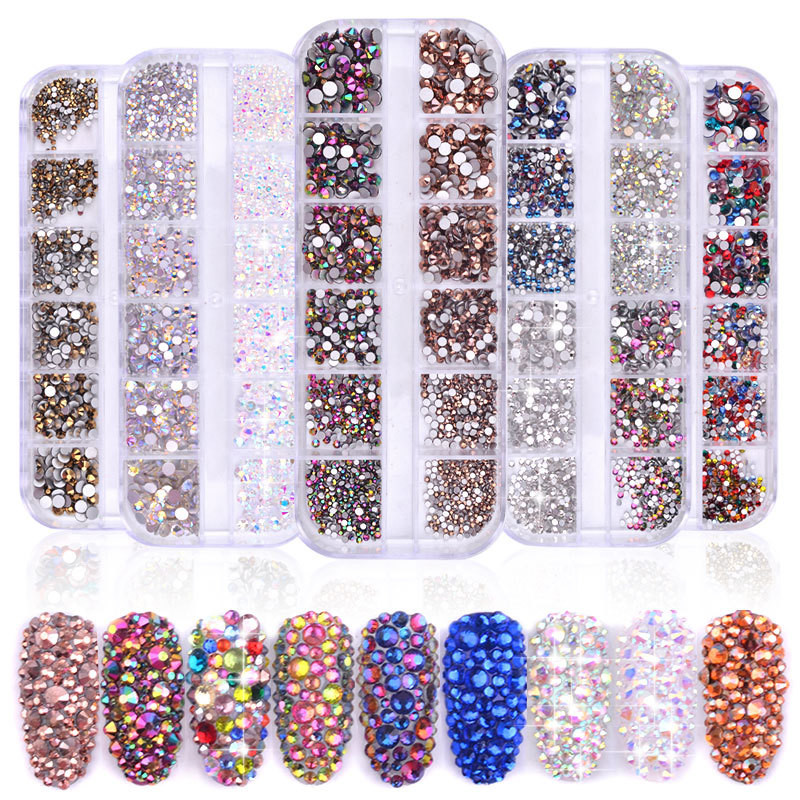 New 1440pcs/box Multi Size Mixed Colors Flat-back Crystal <strong>Glass</strong> 3D Charm Gems <strong>Nail</strong> Rhinestone Decoration