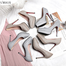 LXUNYI New trend wedding shoes lace high heel sexy women single shoes bridal shoes