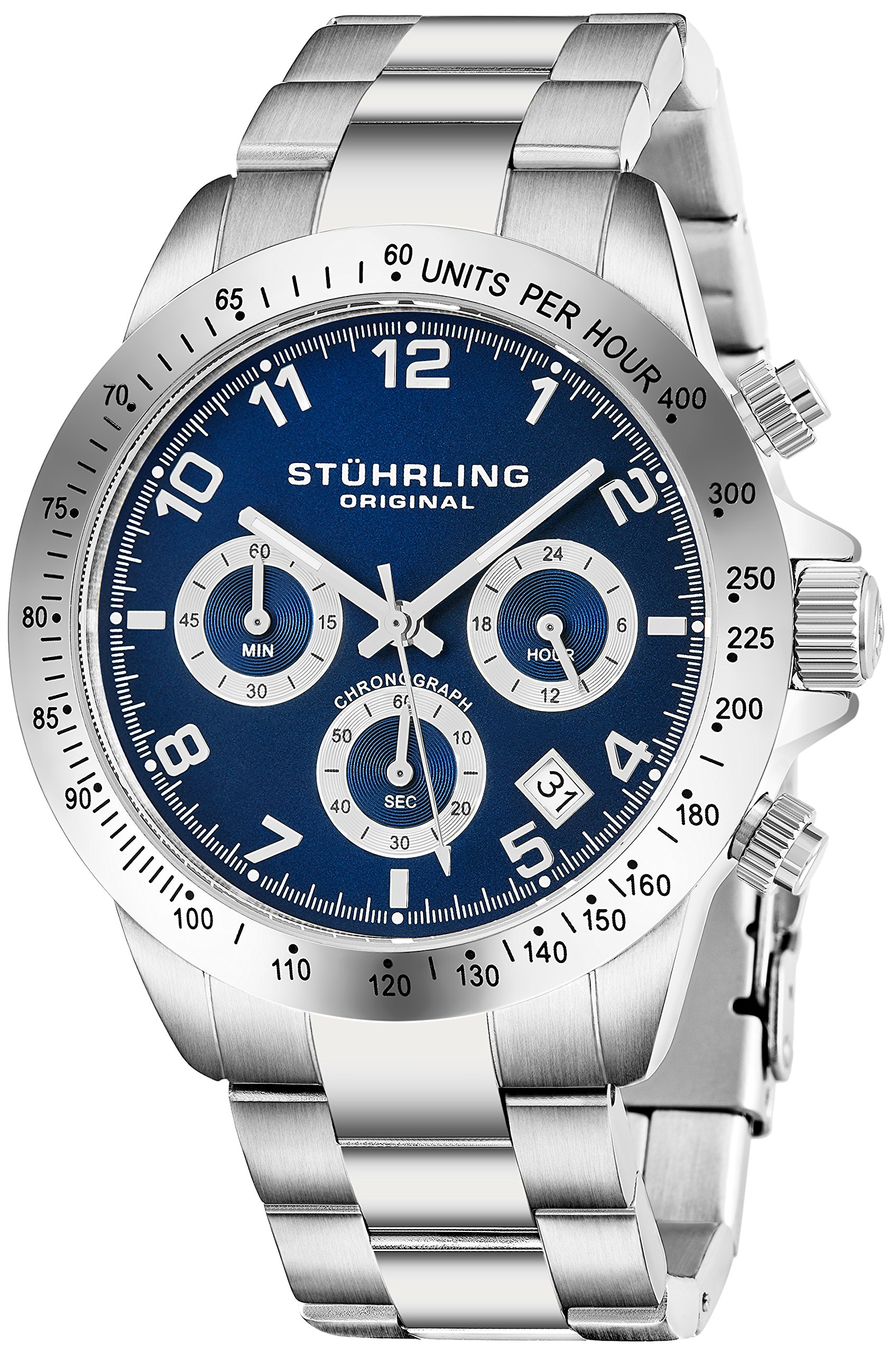 c8a6db12b56 Get Quotations · Quartz Chronograph Mens Watch by Stuhrling Original with  Black, Blue or Silver Dial. Solid