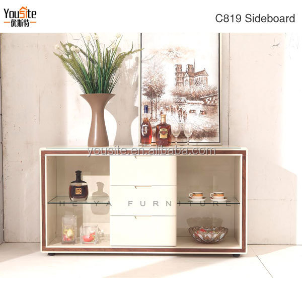 Best Quality Glass Wooden Sideboard Manufacturer C819
