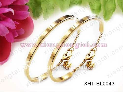 chic gold color stainless steel cuff bangle bracelet/ casual party jewelry