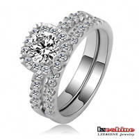 Cheap High Quality Cubic Zirconia Wedding Couple Rings Wholesale Real 18K Plated Copper Rings CRI0112