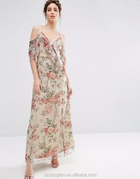 02dd5ac3a757 Cina Produttori di Abbigliamento Floreale Maxi Dress Abiti Da Sera 2017  Estate Chiffon Di Seta Tessuto