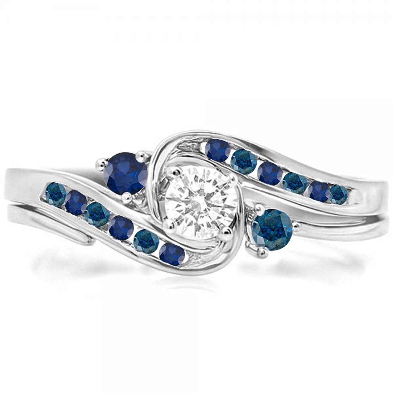 DazzlingRock Collection 14K Gold Blue & White Diamond & Blue Sapphire Swirl Bridal Engagement Ring Set