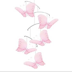 Butterfly Mobile Pink Twinkle Nylon Mesh Butterflies Mobiles Decorations Decorate Baby Nursery Bedroom, Girls Room Ceiling Decor Birthday Party Baby Shower Baby Crib Hanging Mobile Childrens 3D Art