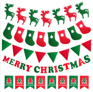 MERRY CHRISTMAS Non-woven Bunting Banner Flags for Christmas Party