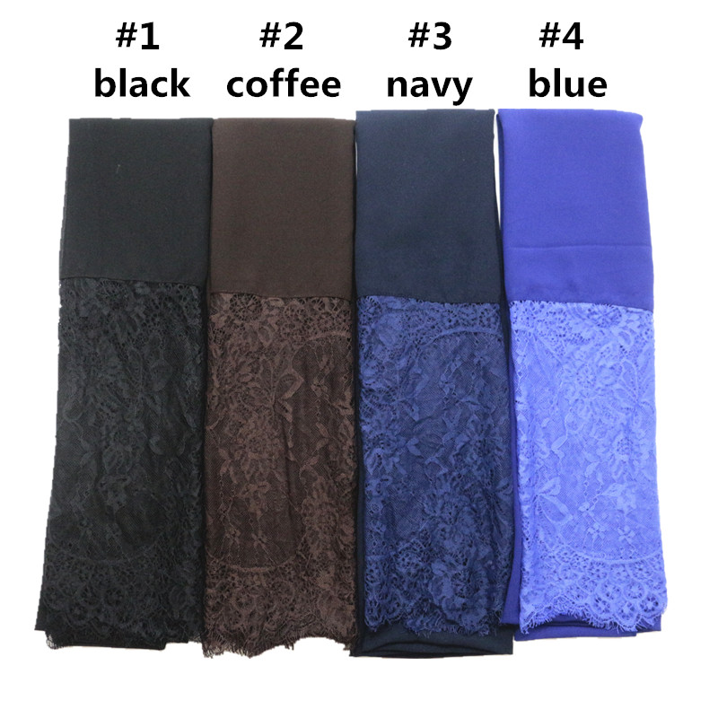 Fashion lace chiffon scarf women chiffon hijab with long lace