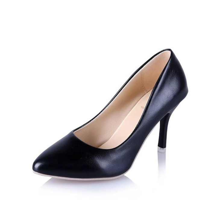 Z20512 Women Pointed-toe Officer Shoes With Kitten <strong>Heel</strong>