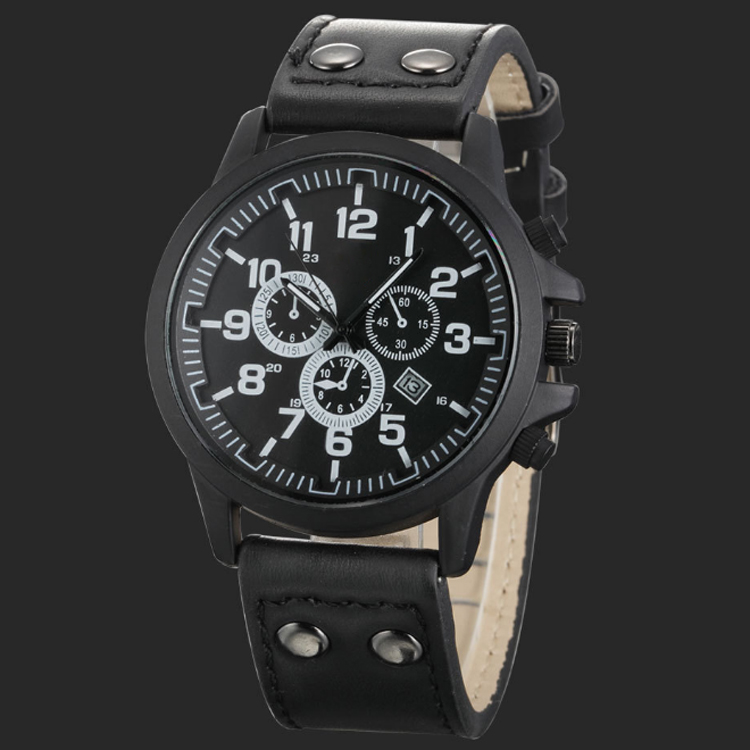 Watch logo custom chronograph watch men with black leather belt and big face hot sale in USA market