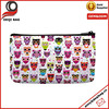 Colorful Cute Owls Print Small Cosmetic Bag Wristlet Lovely Big